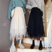 半身裙春季網紗蕾絲不規則中長款xs百褶紗裙【時尚大衣櫥】