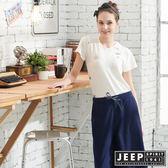 【JEEP】女裝轉印圖騰V領短袖T恤-白色