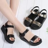 夏季鏡面舒適休閒羅馬涼鞋 韓版百搭平底鞋《小師妹》sm1577