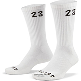 NIKE 長襪 運動襪 JORDAN 23 全白 籃球襪 (六雙一組) 小腿襪 (布魯克林) DH4287-100