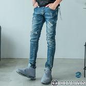 高規刀割破膝彈性牛仔褲【BPA63】OBIYUAN 韓版鬼洗破壞加工吊飾單寧長褲 共1色
