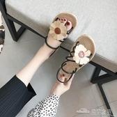 韓版涼鞋女夏平底新款百搭學生露趾花朵舒適兩穿羅馬沙灘鞋子(聖誕新品)