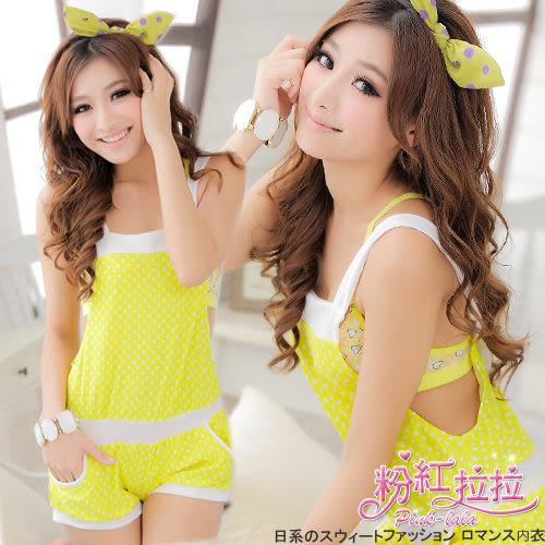 *╮粉紅拉拉【PSW77】夏日甜心→可愛繽紛圓點點外搭式連身吊帶褲裝。泳裝、比基尼必備。黃