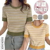 EASON SHOP(GQ0566)韓版復古撞色小格紋短版露肚臍圓領短袖針織衫T恤女上衣服彈力貼身打底內搭衫黃黑