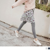 《BA4642》浪漫飄逸花朵假兩件內搭褲裙--適 2L~6L OrangeBear