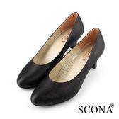 SCONA 蘇格南 典雅素面百搭跟鞋 黑色 22701-1