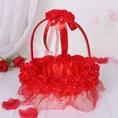 婚禮花童撒花小花籃伴娘手提蕾絲