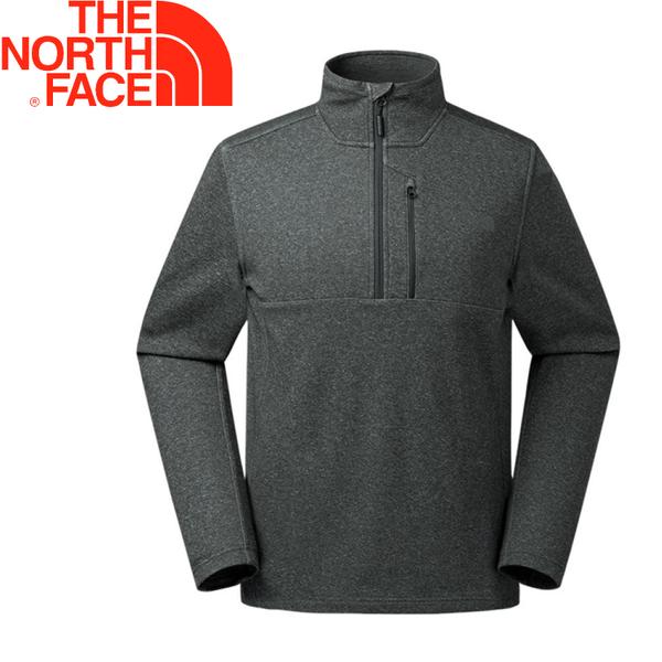 【The North Face 美國 男款 刷毛半門襟上衣《深灰》】366V/吸濕排汗/保暖/休閒長袖★滿額送