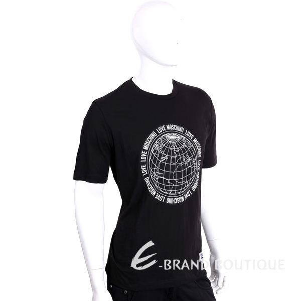 LOVE MOSCHINO 黑色地球儀圖印棉質短袖T恤 1620162-01
