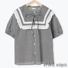 「Summer」蕾絲圍兜拼接設計純棉短袖上衣 (提醒 SM2僅單一尺寸) - Sm2