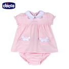 chicco-粉紅花園-花瓣領洋裝式套裝(+包屁褲)