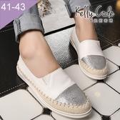 大尺碼女鞋-凱莉密碼-時尚拼接明星款草編漁夫鞋懶人鞋平底鞋2cm(41-43)【BW1582】白色