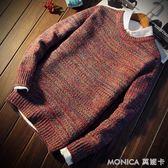 毛衣 冬季男士毛衣男寬鬆針織衫青少年圓領外套加厚打底衫潮流 莫妮卡小屋