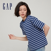 Gap女裝 純棉質感厚磅圓領短袖T恤 656342-藍色條紋