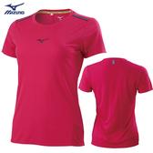 MIZUNO 女裝 短袖 T恤 吸汗快乾 透氣網布 兩肩反光織帶 莓果紅【運動世界】J2TA071165