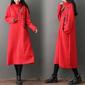 冬季新款棉麻花布拼接夾絲綿寬鬆高領保暖大件連衣裙中長裙洋裝