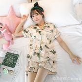 睡衣女夏季性感短袖套裝兩件套夏天韓版薄款冰絲綢家居服可愛大碼 漾美眉韓衣