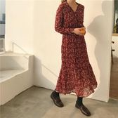 春季紅色雪紡連衣裙女長袖韓版V領復古碎花裙學生打底中長款裙子『艾麗花園』