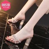 特惠 透明水晶拖鞋外穿年天天大東新款時尚高跟水鉆涼拖夏粗跟仙女