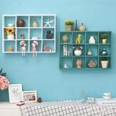 免打孔墻上置物架實木裝飾架格子木架掛墻客廳墻壁墻飾創意儲物架 FF2307【衣好月圓】