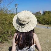 草帽女夏天小清新大沿帽可折疊沙灘帽子海