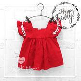北歐風可愛球球荷葉袖純色上衣紅色法式甜美娃娃棉質圓領荷葉袖女童