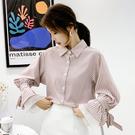 【GZ32】長袖襯衫 時尚條紋印花喇叭袖歐根紗拼接雪紡襯衫女上衣
