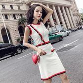 連衣裙女夏2018新款韓版氣質圓領撞色無袖漏肩顯瘦修身針織包臀裙