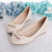 鞋子女淺口百搭水鑚豆豆鞋女中跟平底內增高坡跟單鞋  魔法鞋櫃
