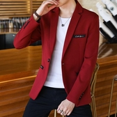 西裝男士外套帥氣單上衣紅色小西裝男西服潮 居享優品