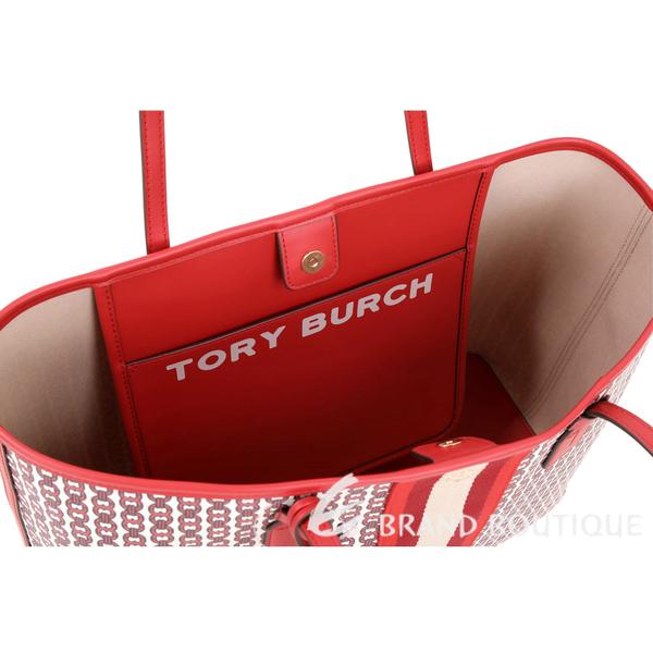 TORY BURCH GEMINI LINK CANVAS 塗層帆布托特包(紅色) 1920397-54