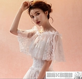 雙11特價 禮服披肩 新娘春夏薄款鳳尾蕾絲網紗禮服披肩一字肩超仙婚紗披肩遮手臂顯瘦