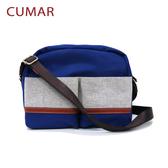 【CUMAR女包】異材質尼龍拼布輕量斜背小包-藍