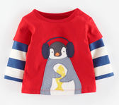 男Baby男童長袖T恤可愛企鵝純棉長袖上衣歐美品質現貨