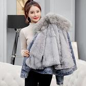 加絨加厚羊羔毛牛仔外套女秋冬百搭2020新短款大毛領棉衣服矮個子 夢幻小鎮