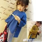 女童T恤 夏季新品女童時尚后背印花上衣 兒童寬鬆不規則蝙蝠袖T恤5012