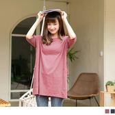 《AB9980》台灣製造. 高含棉純色口袋五分袖長版寬鬆T恤/上衣 OrangeBear