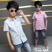 2021新款童裝男童短袖襯衫兒童中大童純棉襯衣小男孩夏裝韓版襯衫