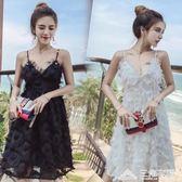 海邊度假沙灘裙衣服女主播上鏡超仙性感夜店吊帶洋裝 三角衣櫃