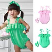 夏日清涼包屁衣 俏皮可愛 綁帶 女寶寶 爬服 哈衣 附髮帶 Augelute Baby 60202