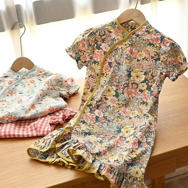 國風 唐裝 兒童純棉旗袍式洋裝 女童格子短袖裙子 中小童 新款 幸福第一站