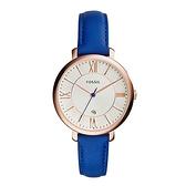 【Fossil】Jacqueline羅馬風簡約薄型時尚腕錶-亮眼藍/ES3795/台灣總代理公司貨享兩年保固
