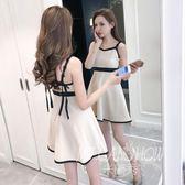 ✎﹏₯㎕ 米蘭shoe  吊帶裙夏裝新款韓版一字肩露背蝴蝶結修身荷葉邊禮服連衣裙