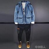 男士套裝 套裝男士工裝秋季韓版潮流休閑外套搭配帥氣青少年學生兩件套 布衣潮人 YJT