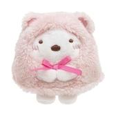 〔小禮堂〕角落生物 北極熊 迷你沙包絨毛玩偶娃娃《粉白.睡衣》擺飾.玩具 4974413-75087