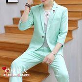 夏季男士薄款純色中袖小西裝套裝修身時尚七分袖西服三件套 全店88折特惠