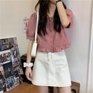 短袖襯衫 女設計感小眾夏季法式甜美減齡短款上衣方領小個子娃娃衫【快速出貨】