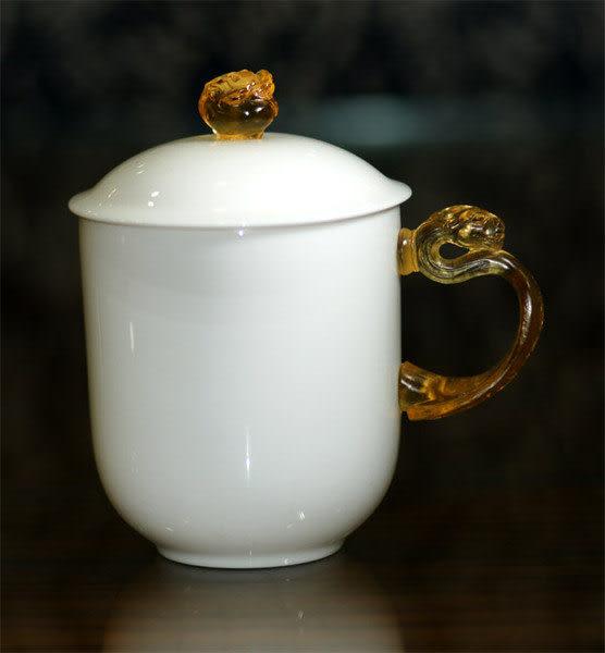 鹿港窯~琉璃耳 古瓷【大凍玉瓷蓋杯】附精美包裝◆免運費送到家