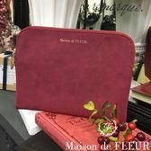 Maison de FLEUR ♡ 質感方型麂皮化妝包/小包 - Maison de FLEUR