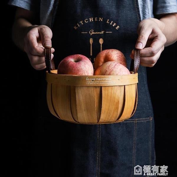 舍里 日式手工編織木片收納籃儲物南瓜籃水果籃面包籃野餐手提籃 ATF 極有家
